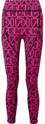 Fendi Printed Stretch Leggings - Bright pink
