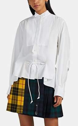 Sacai Women's Zip-Detailed Cotton-Blend Poplin Blouse - White