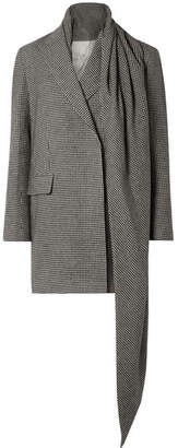 The Row Mewey Tie-detailed Houndstooth Camel Hair Coat - Black