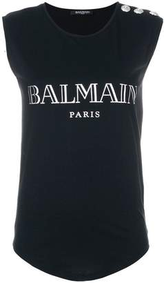 Balmain button-embellished logo tank