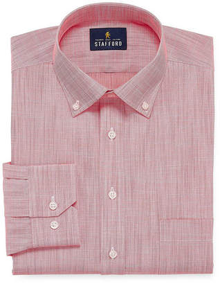 STAFFORD Stafford Slub Linen Look Big And Tall Long Sleeve Broadcloth Dress Shirt