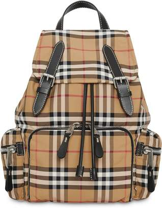Burberry camel The Medium Rucksack in Vintage Check Nylon