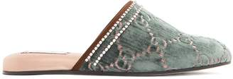Gucci GG crystal-embellished velvet slipper shoes