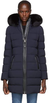 Mackage Navy Calla Matte Lightweight Down Coat