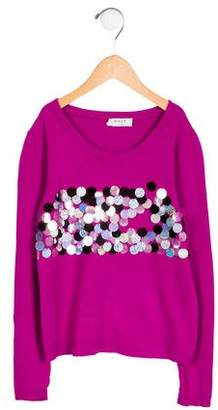 Milly Minis Girls' Embellished Long Sleeve Sweater