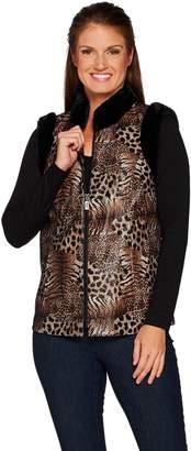 Bob Mackie Leopard Print Vest with Faux Fur Trim