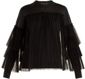 Muveil Pleated tulle-embellished wool sweater