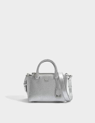 7335f938eeef MICHAEL Michael Kors Nolita Mini Messenger Bag in Silver Metallic Leather