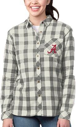 Buffalo David Bitton Unbranded Women's Heathered Gray/Cream Alabama Crimson Tide Plaid Flannel Button-Down Shirt