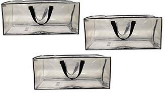 clear EarthWise Storage Bags Heavy Duty Extra Large Transparent Moving Totes w/Zipper Closure Reusable Backpack Carrying Handles - Compatible with IKEA Frakta Hand Carts (3 Pack) (29 X 13.5 X 12)