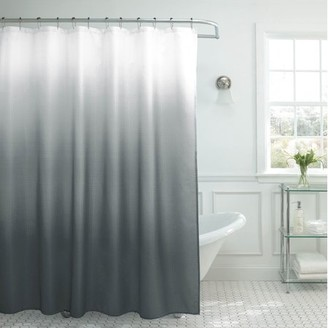 Bounce Comfort Creative Home Ideas Ombre Textured Shower Curtain with Beaded Rings, Dark Grey