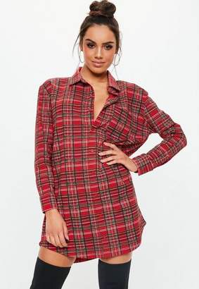 Missguided Red Oversized Plaid Jersey Shirt Dress