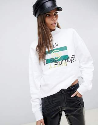 Miss Sixty slogan high neck sweatshirt