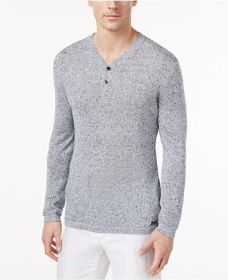 Tasso Elba Men's Marled Linen Henley Sweater, Only at Macy's $85 thestylecure.com