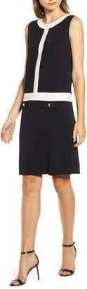 Anne Klein Colorblock Sleeveless Shift Sweater Dress