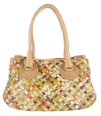 Bottega VenetaBottega Veneta Colorblock Intrecciato Leather Bag