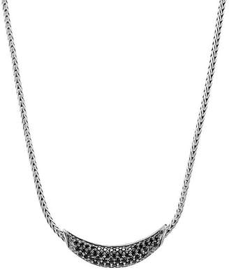 """John Hardy Sterling Silver Gold Classic Black Sapphire & Black Spinel Arc Adjustable Necklace, 18"""""""