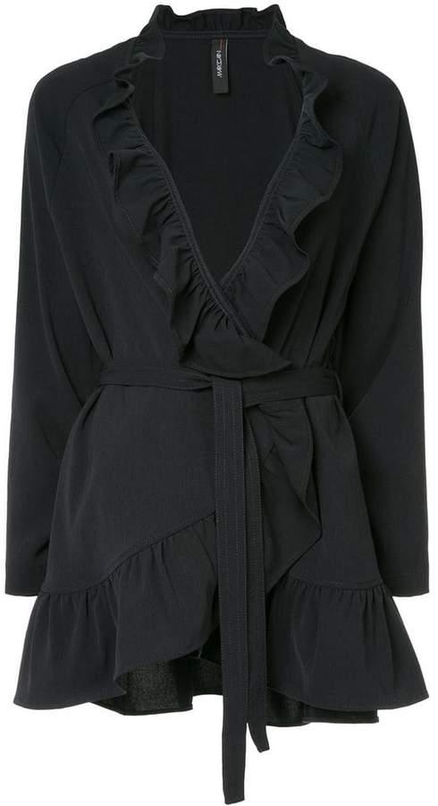 frill-trim belted jacket