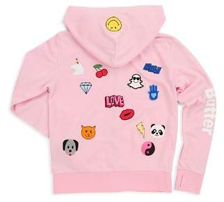Butter Shoes Girls' Sticker Graphic Hoodie - Big Kid