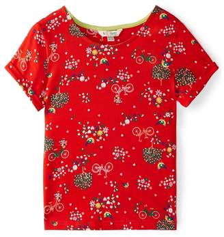Yumi Girl - Girls' Red Birds And Bicycle Print Top
