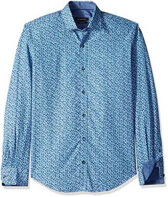 Bugatchi Men's Shaped Fit Point Collar Dead Fish Pattern Cotton Shirt