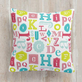 Eclectic ABCs Self-Launch Square Pillows