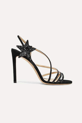 Jimmy Choo Lynn 100 Crystal-embellished Suede Sandals - Black