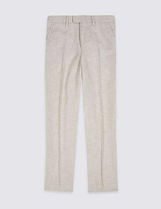 Marks and Spencer Cotton Blend Textured Trousers (3-16 Years)
