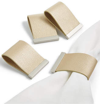 Hotel Collection Set of 4 Faux Leather Champagne Napkin Rings