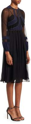 N°21 N° 21 Long-Sleeve Silk-Blend A-Line Dress