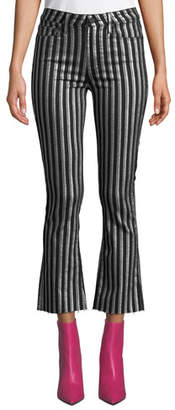Paige Colette Crop Flare Striped Jeans with Raw Hem