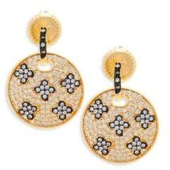 Freida Rothman Pavé Crystal and Sterling Silver Clover Disc Drop Earrings
