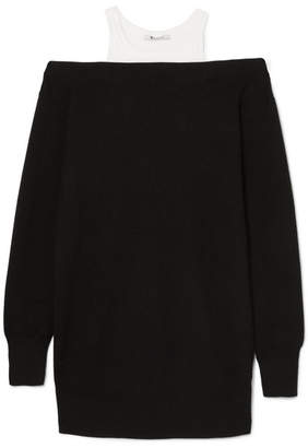 Alexander Wang Layered Merino Wool-blend And Cotton Dress - Black