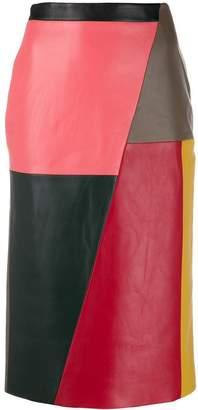 Eudon Choi colourblock leather midi skirt