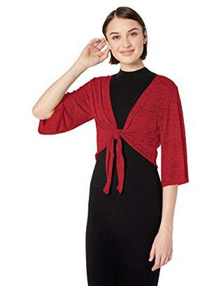 Star Vixen Women's Stretch Hacci Knit Tie-Front Shrug Sweater