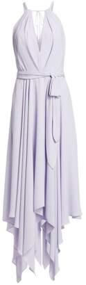 Halston Sleeveless Front Keyhole A-Line Handkerchief Dress