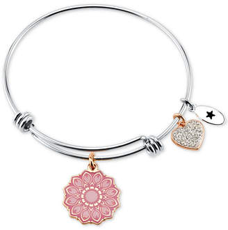 "Unwritten Happiness Blooms from Within"" Flower & Heart Charm Bangle Bracelet in Stainless Steel and Rose Gold-Tone"
