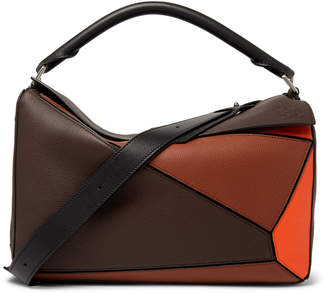 Loewe Puzzle XL Full-Grain Leather Messenger Bag - Men - Brown