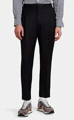Officine Generale Men's Drew Satin-Piped Wool-Mohair Drawstring Trousers - Black