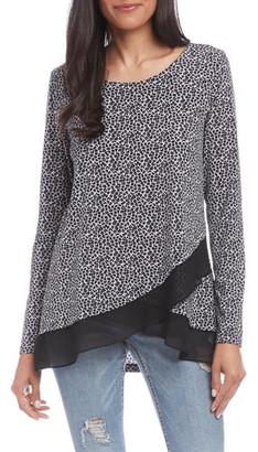 Karen Kane Baby Leopard Print Sheer Hem Blouse