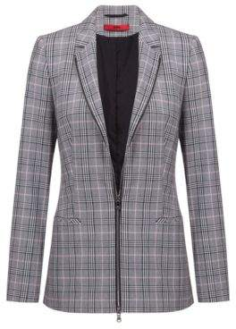 HUGO Boss Regular-fit checked jacket two-way front zipper 4 Patterned