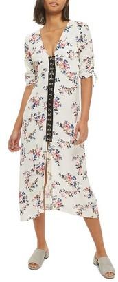 Topshop Women's Hook Front Floral Midi Dress