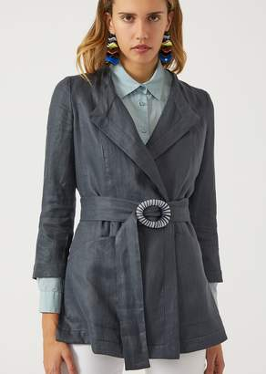 Emporio Armani Linen Twill Jacket With Belt