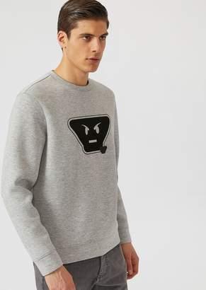 Emporio Armani Fancy Collection Scuba Fabric Sweatshirt With Emoticon Patches