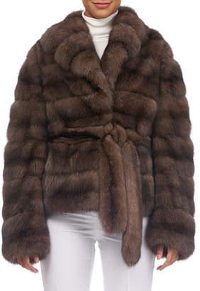 Tsoukas Notched-Collar Belted Sable Fur Jacket