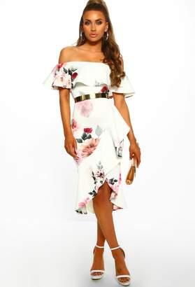 Pink Boutique So Senorita White Floral Bardot Frill Detail Midi Dress