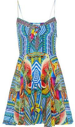 Camilla Book A Shade Embellished Printed Silk Crepe De Chine Mini Dress