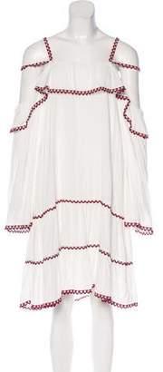 Red Carter Cold-Shoulder Knee-Length Dress