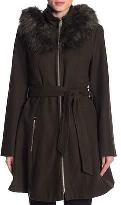 Laundry by Shelli Segal Faux Fur Trim Belted Fit & Flare Wool Blend Coat