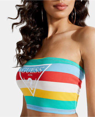 GUESS Rainbow Stripe Logo Tube Top